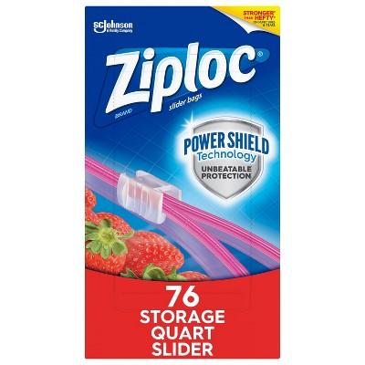 Ziploc Slider Storage Quart Bags with Power Shield Technology - 76ct
