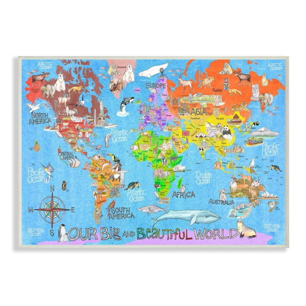 """Image of """"10""""""""x0.5""""""""x15"""""""" Our Big Beautiful World Map Wall Plaque Art - Stupell Industries"""""""