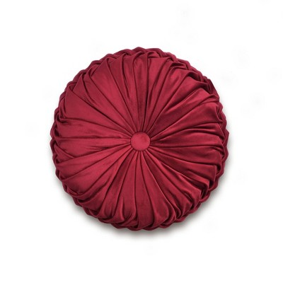 """15"""" Soft Velvet Pleated Round Throw Pillow Red - Lush Décor"""