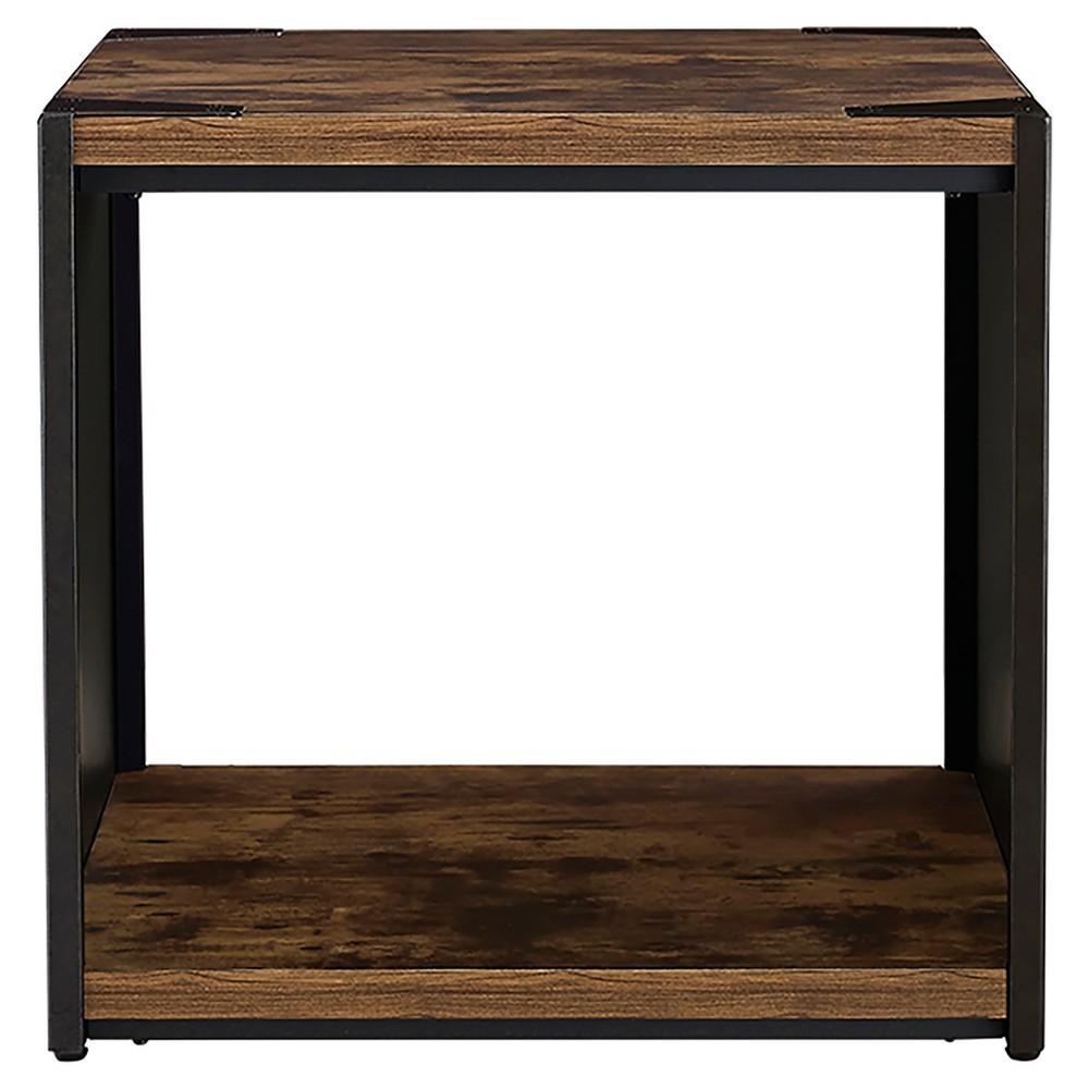 24 Steel Plate and Wood Side Table - Saracina Home, Brown