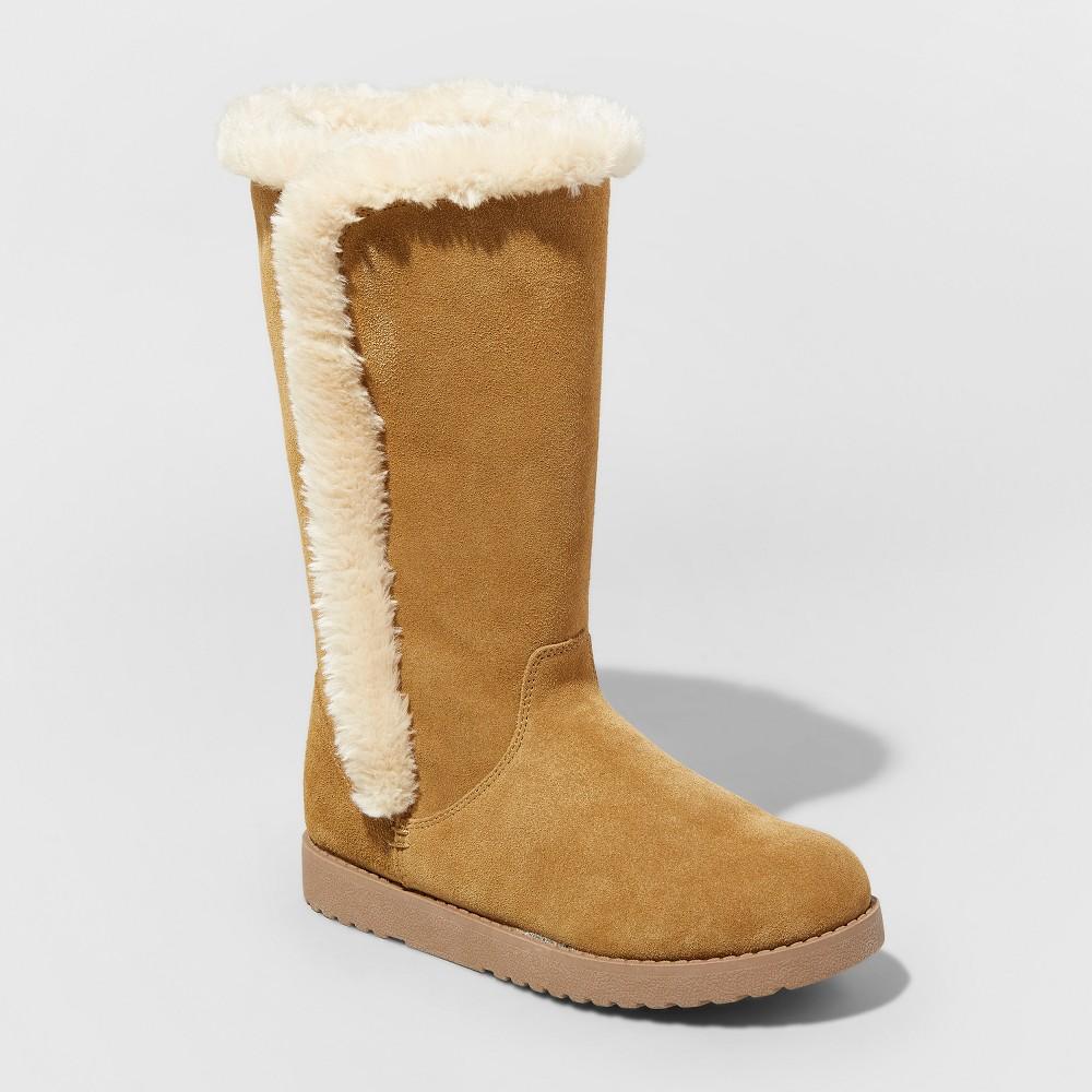 Women's Daniela Wide Width Suede Winter Tall Boots - Universal Thread Natural 5W, Size: 5 Wide