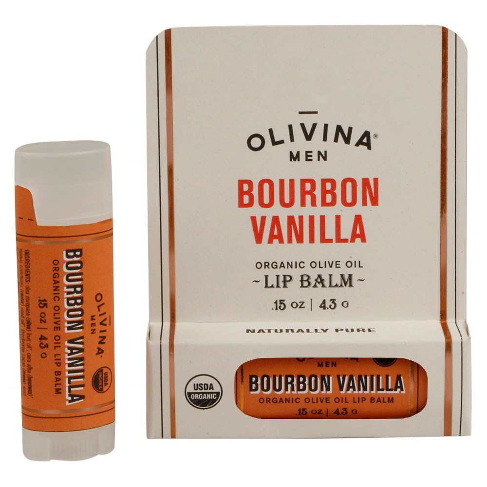 Image of Olivina Men Bourbon Vanilla Organic Lip Balm - 0.15oz