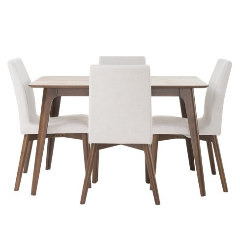 "Orrin 50"" 5 - Piece Dining Set - Natural Walnut/Light Beige - Christopher Knight Home - image 1 of 4"