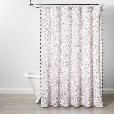 Paisley Print With Lace Trim Shower Curtain Pink - Opalhouse™