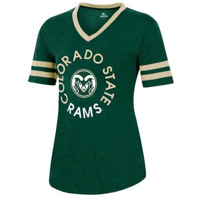 NCAA Colorado State Rams Women's Short Sleeve V-Neck Heathered T-Shirt