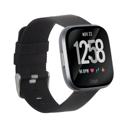 Insten Canvas Woven Fabric Band for Fitbit Versa 2 / 1 / Lite / SE, Replacement Strap, Black