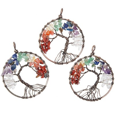 Bright Creations 3-Pack Copper Tree of Life Pendant with Chakra Gemstones, Art and Crafts for Jewelry Bracelets, 2 in
