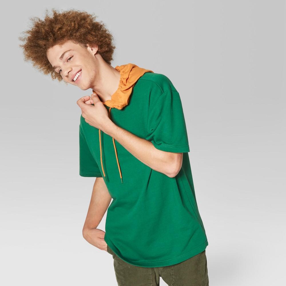 Men's Short Sleeve Hooded Pullover Sweatshirt - Original Use Jade Winner XL, Green