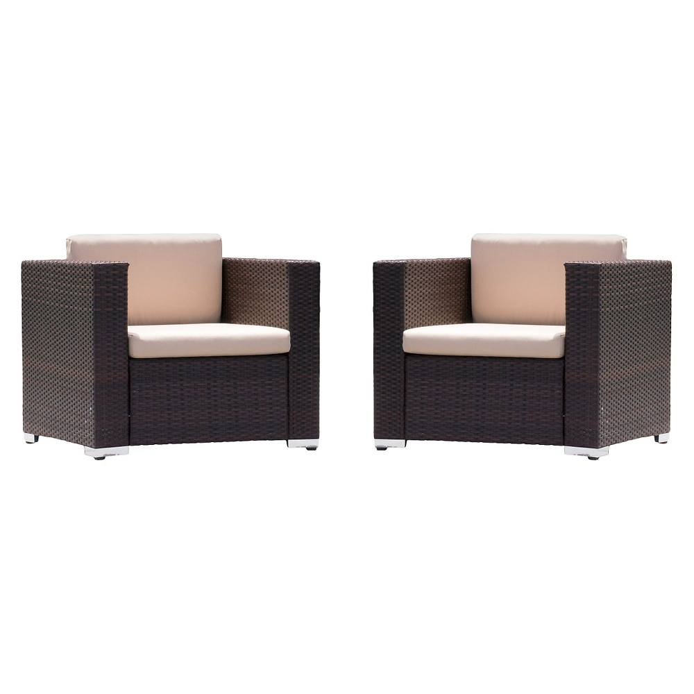 Murano Set of 2 Wicker Patio Club Chairs With Cushions - ...