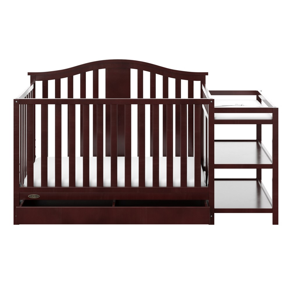 Image of Graco Solano 4-in-1 Convertible Crib and Changer with Drawer - Espresso, Brown
