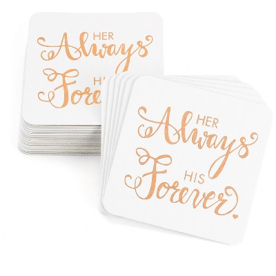 25ct Her Always His Forever' White Coaster Set