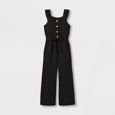 Girls' Ruffle Strap Button-Front Short Sleeve Jumpsuit - art class™