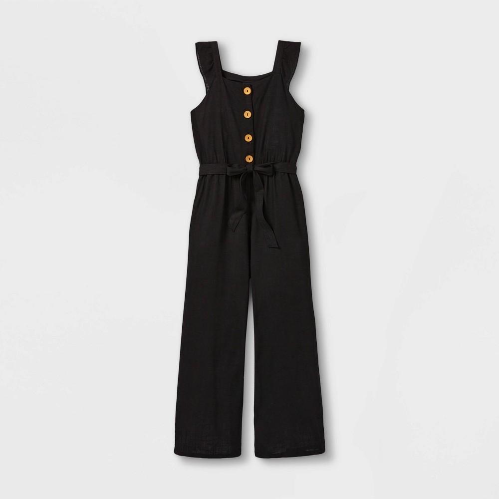 Girls 39 Ruffle Strap Button Front Short Sleeve Jumpsuit Art Class 8482 Black M