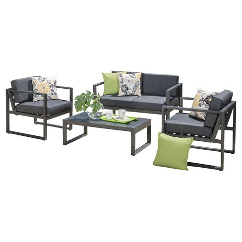 Navan 4pc Aluminum Chat Set - Dark Gray - Christopher Knight Home - image 1 of 4