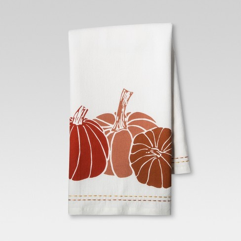 pumpkin print kitchen towel brown linen threshold target