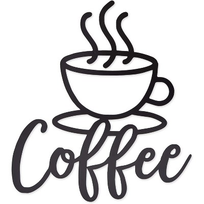 Okuna Outpost Metal Coffee Cup Wall Sign, Home Kitchen Decor, Black (11.8 x 13 Inches)
