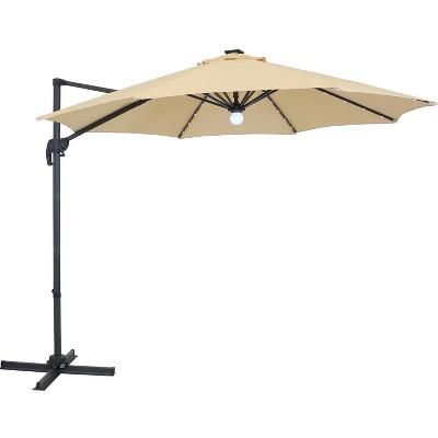 Offset Solar LED Lighted Patio Umbrella - Beige - Sunnydaze Decor