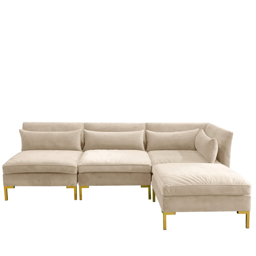Image of 4pc Alexis Sectional with Brass Metal Y Legs Ivory Velvet - Cloth & Company