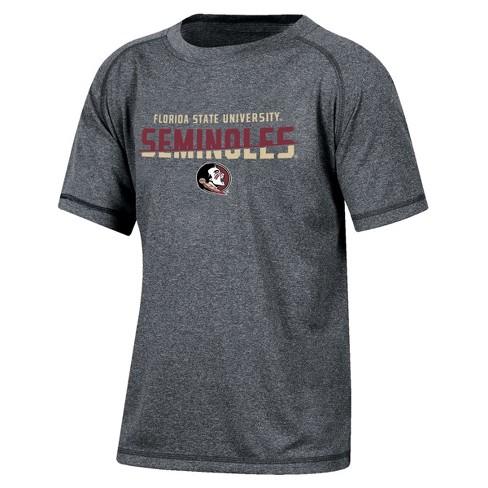 Florida State Seminoles Boys Short Sleeve Crew Neck Raglan Performance T-Shirt - Gray Heather - image 1 of 2