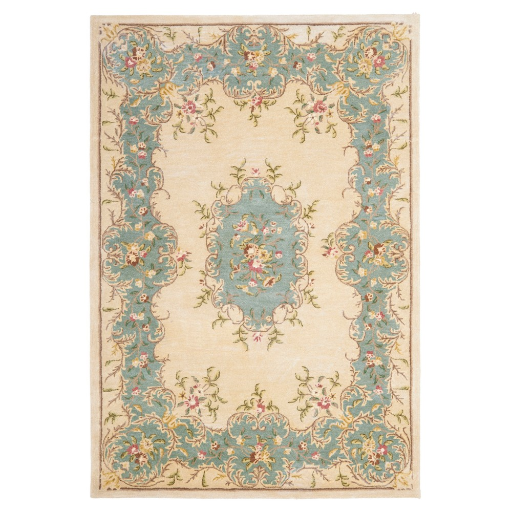 Ivory/Light Blue Floral Tufted Accent Rug 4'X6' - Safavieh, Ivorynlight Blue