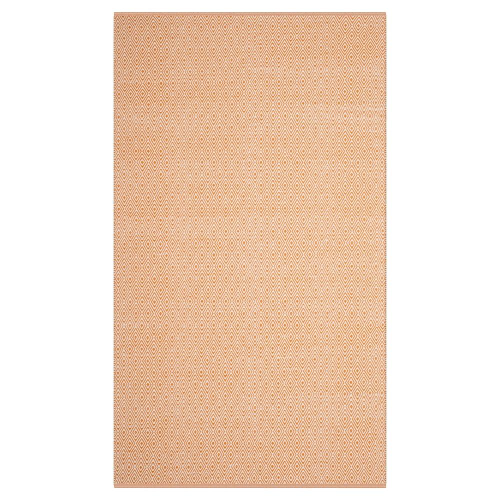 Ivory/Rust (Ivory/Red) Stripe Flatweave Woven Area Rug - (5'X8') - Safavieh