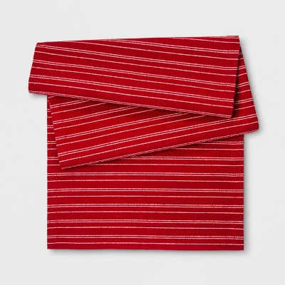 "20""x90"" Solid Striped Table Runner Red - Threshold™"