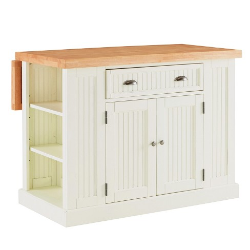 Nantucket Solid Wood Top Kitchen Island White - Home Styles