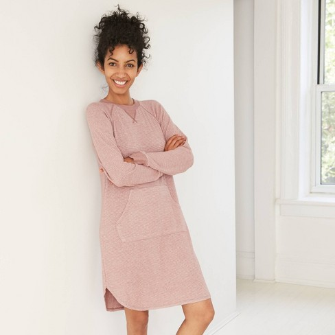 Women's Striped Perfectly Cozy Long Sleeve Nightgown - Stars Above™ Clay - image 1 of 2