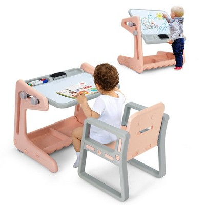 Costway 2 in 1 Kids Easel Table & Chair Set Adjustable Art Painting Board Gray/Blue/Light Pink
