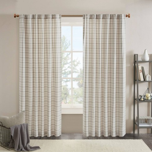 Preston Plaid Rod Pocket and Back Tab Room Darkening Curtain Panel with Fleece Lining - image 1 of 4