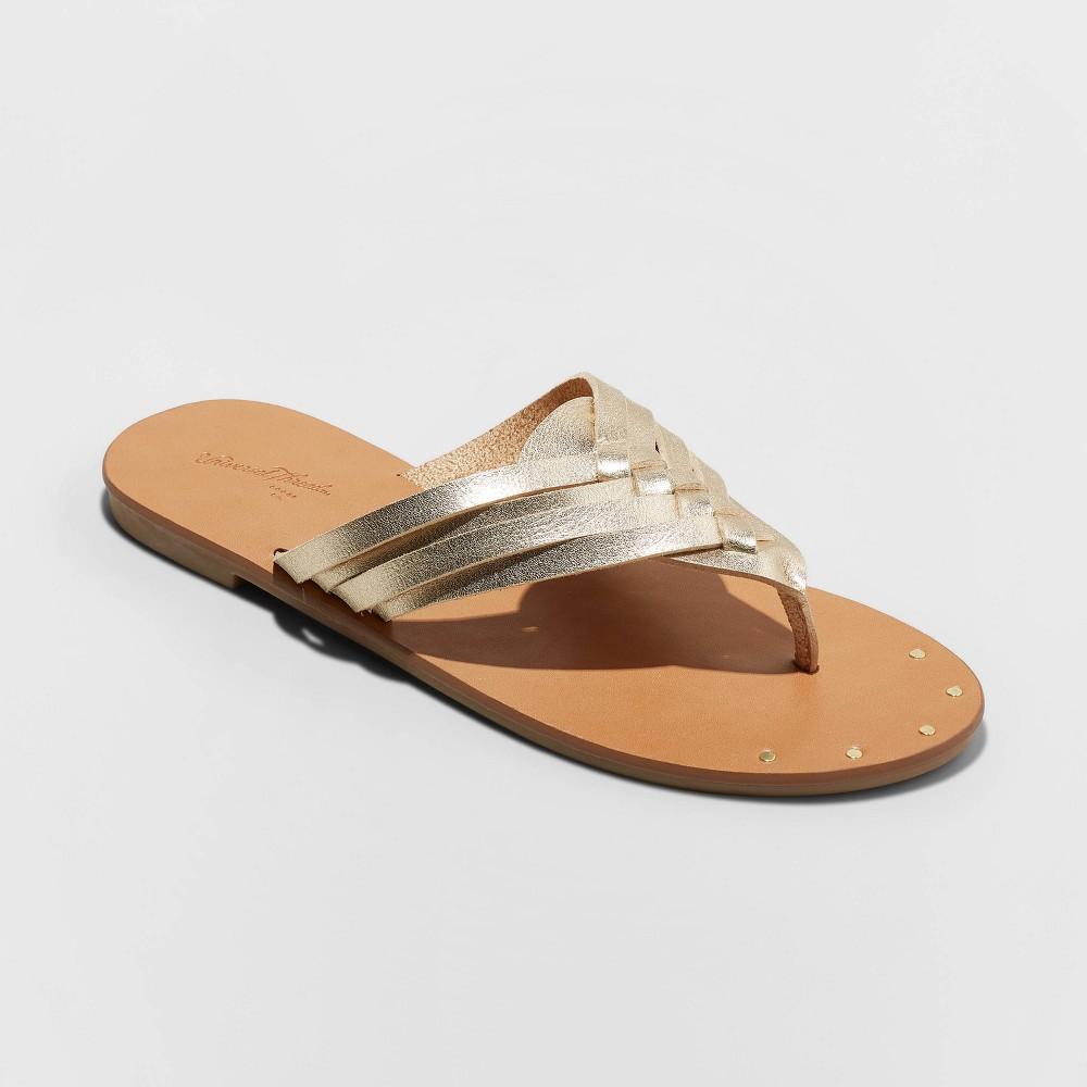 Women's Elani Woven Crossbrand Sandals - Universal Thread Gold 6