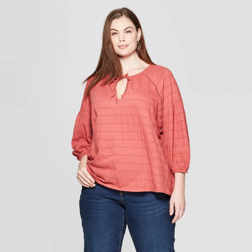 Women's Plus Size Striped Long Sleeve V-Neck Knit Boho Top - Universal Thread Rose (Pink) 2X