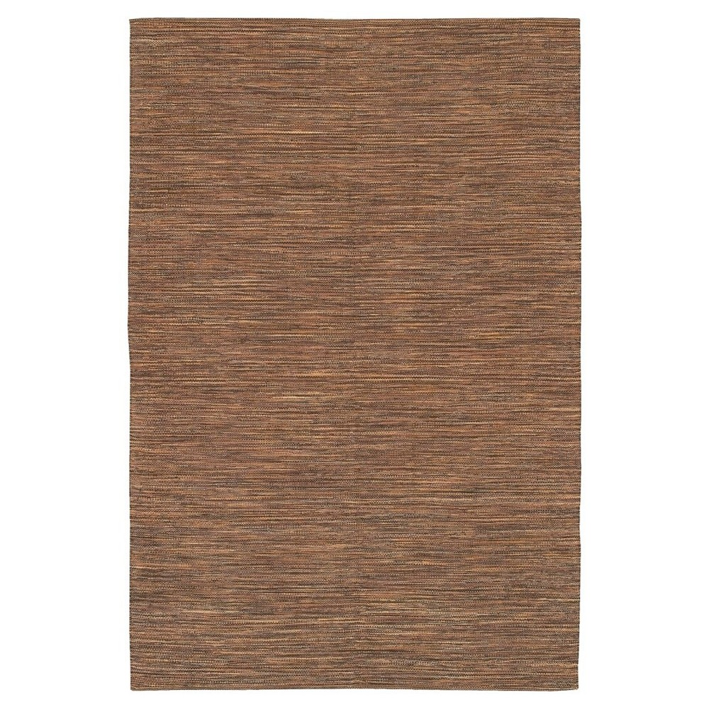 "Image of ""India Hand-Woven Solid Cotton Area Rug - Brown - (3'6""""x5'6"""") - Chandra"""