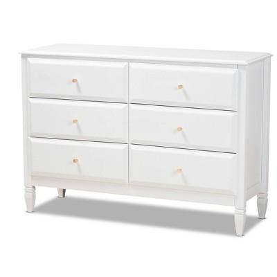 6 Drawer Naomi Wood Bedroom Dresser White/Gold - Baxton Studio