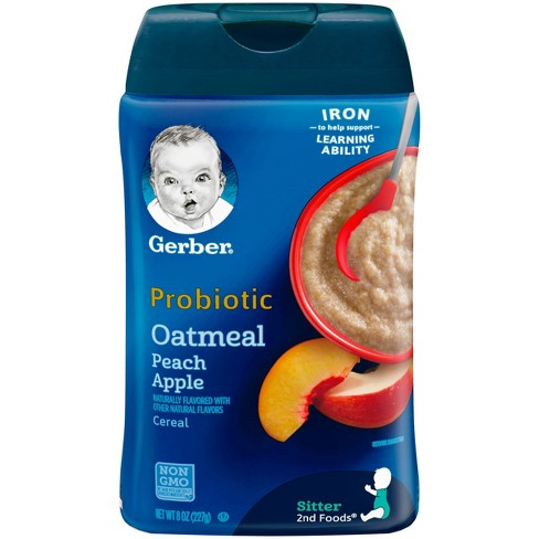 Gerber Baby Probiotic Oatmeal & Peach Apple Cereal - 8oz - image 1 of 3