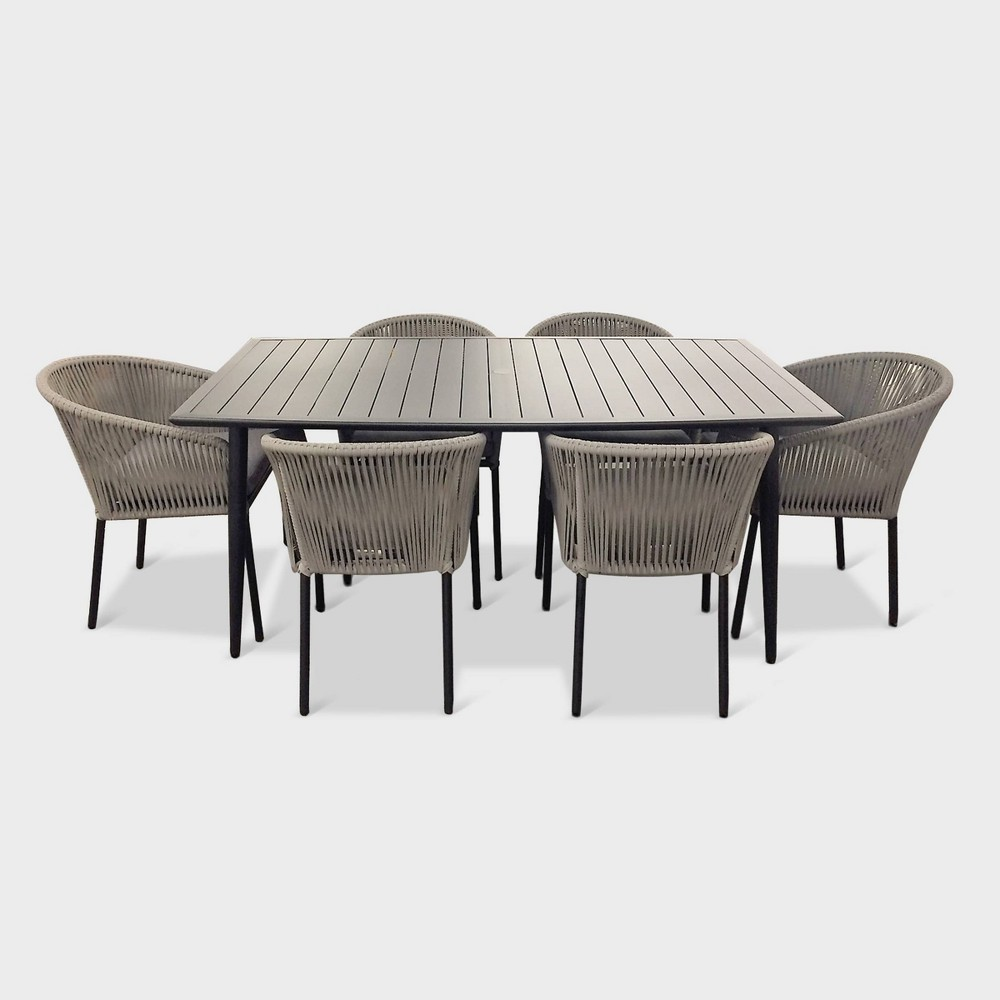 Swell Osborne 7Pc Aluminum Outdoor Dining Table Set With Chairs Theyellowbook Wood Chair Design Ideas Theyellowbookinfo