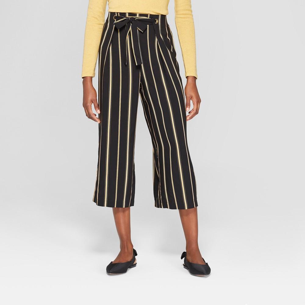 Women's Tie Front Striped Cropped Pants - Xhilaration Black XS