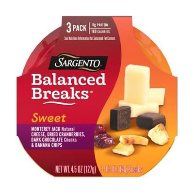 Sargento Sweet Balanced Breaks Monterey Jack Cheese, Dried Cranberries, Dark Chocolate & Banana Chips - 3pk