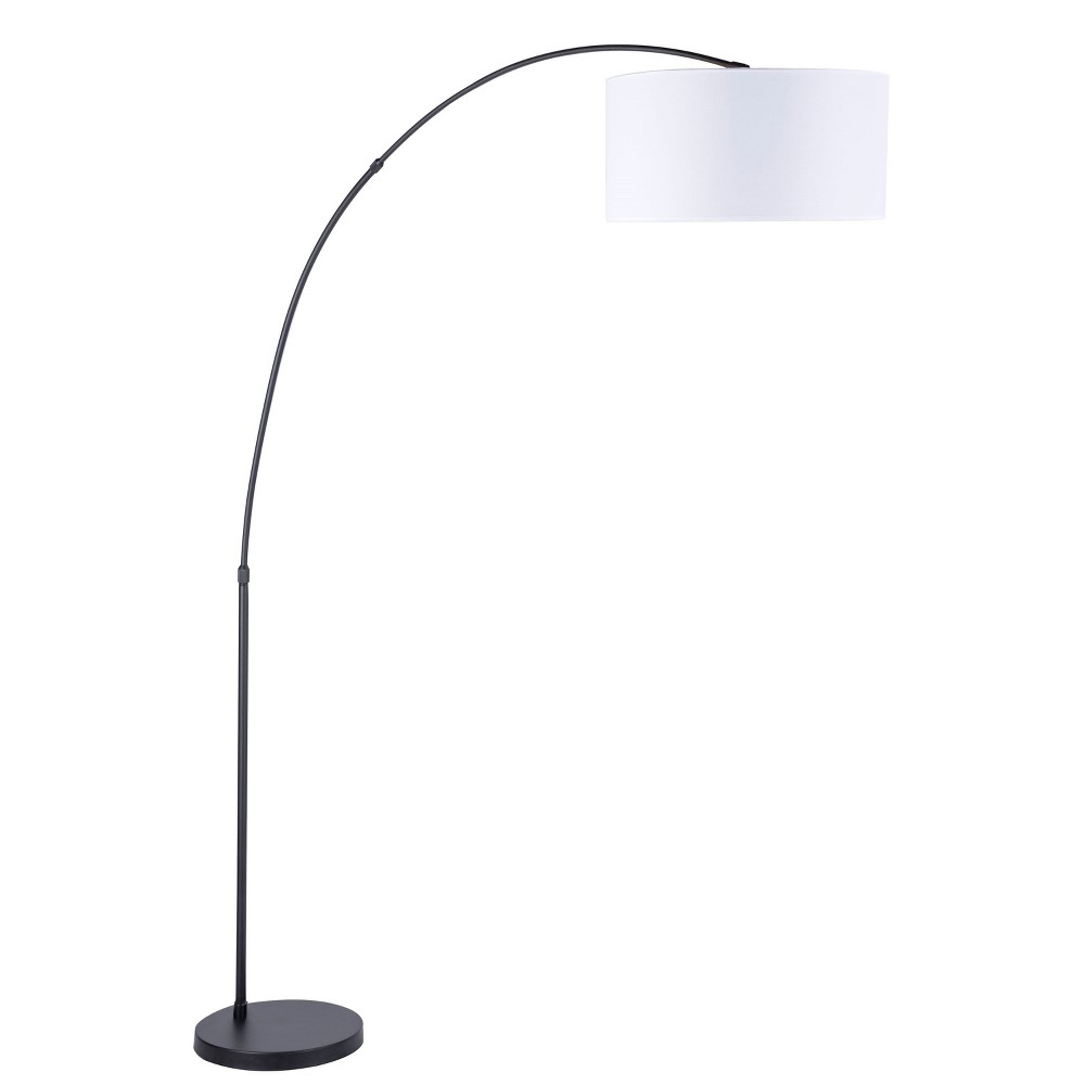 Salon Contemporary Floor Lamp White Shade with Black Base (Lamp Only) - Lumisource