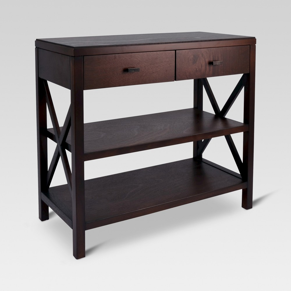 Owings Console Table 2 Shelf Espresso (Brown) - Threshold