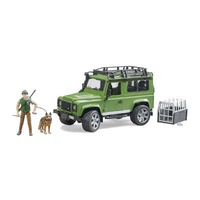 Bruder Land Rover Defender with Forester and Dog Figure