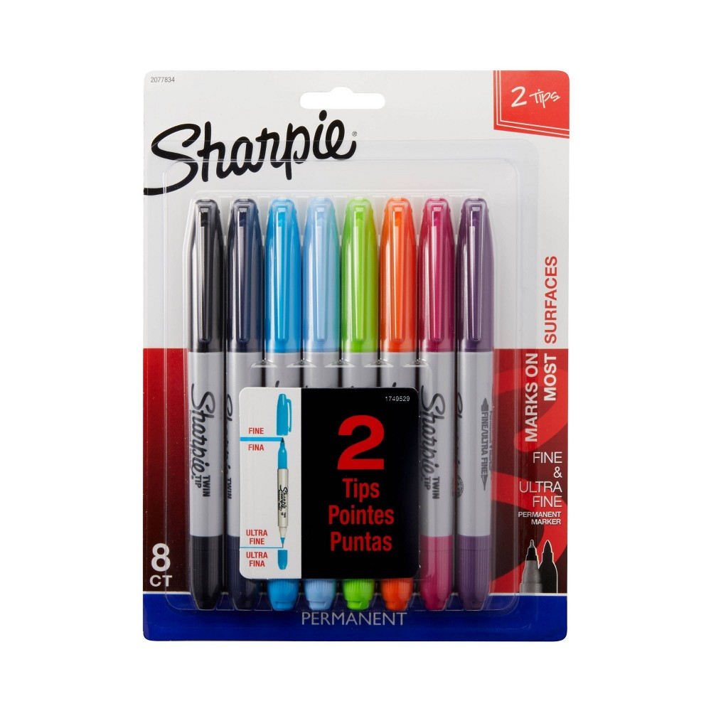 Sharpie 8pk Twin Tip Permanent Marker Assorted Colors, Multi-Colored