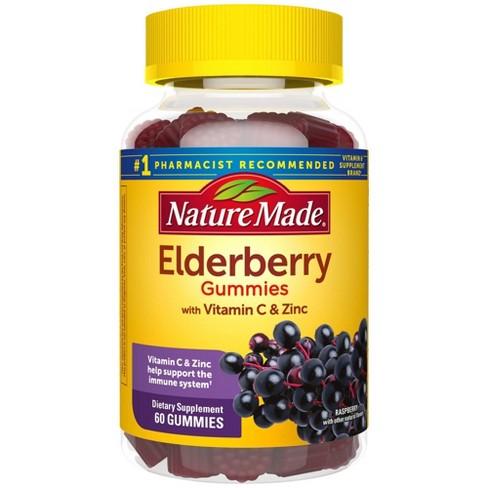Nature Made Elderberry 100mg with Vitamin C & Zinc Gummies - 60ct - Raspberry - image 1 of 4