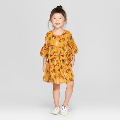 Toddler Girls' Short Sleeve Fox A-Line Dress - Genuine Kids® from OshKosh Zesty Gold 12M