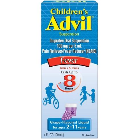 Children's Advil Liquid Fever Reducer/Pain Reliever - 100 mg Ibuprofen - Grape Flavor - 4 fl oz - image 1 of 4