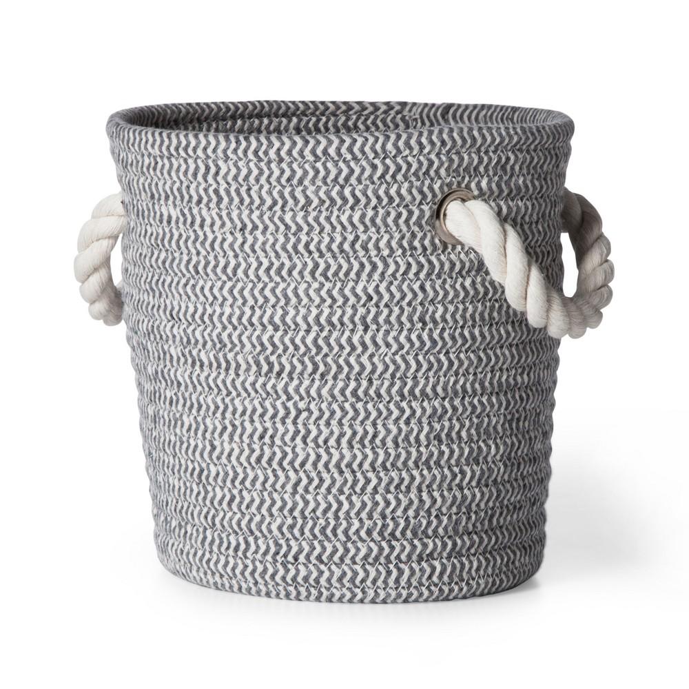 Coiled Rope Storage Bin Small Chevron Cloud Island 8482 Gray