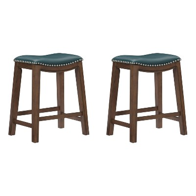 """Homelegance 24"""" Counter Height Wooden Stool Saddle Seat Barstool, Green (2 Pack)"""