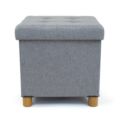 Foldable Storage Ottoman with Reversible Tray Cover Gray - Humble Crew