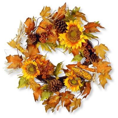 24  Autumn Sunflower Wreath - National Tree Company