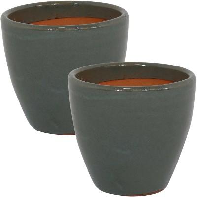 Resort High-Fired Glazed Ceramic Planter - 8-Inch - Set of 2 - Gray - Sunnydaze Decor